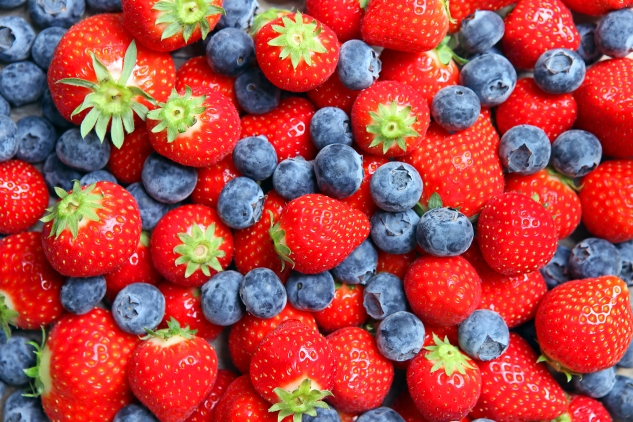 Strawberries and Blueberries Background