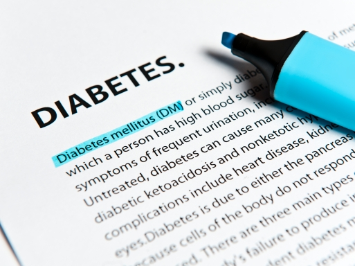 Diabetes text with felt tip pen (Click for more)