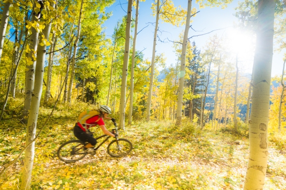 autumn mountain biking woman