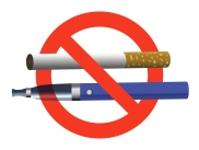 no smoking no vaping sign ban cigarette and electronic cigarette not allowed blue e-cigarette and cigarette in red circle realistic vector illustration