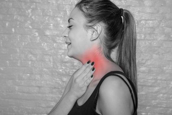 young woman has enlarged lymph nodes
