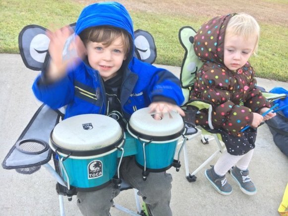 Audrey's kids drumming