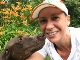 Amanda LeBlanc, PhD, and her dog Julep