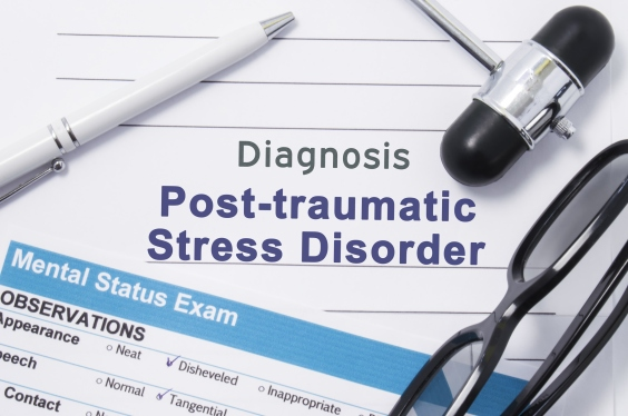 Diagnosis Posttraumatic Stress Disorder. Medical note surrounded by neurologic hammer, mental status exam with an inscription in large letters psychiatric diagnosis of Posttraumatic Stress Disorder