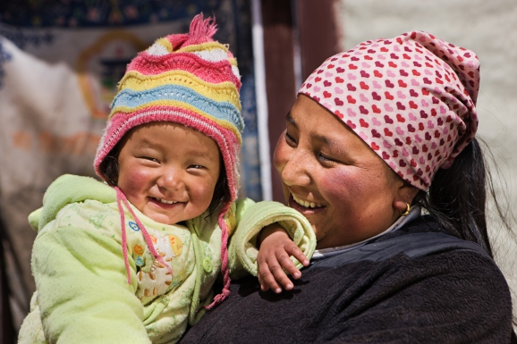 Nepali woman with her baby